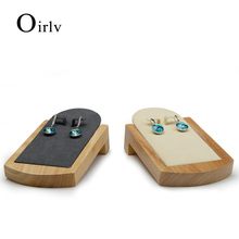 Oirlv Beige &Dark gray Earrings Display Props with Solid wood and Microfiber internal for Exhibition Eail Nail showcase