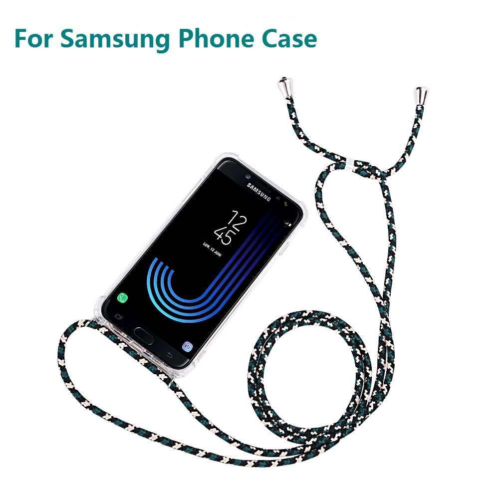רצועת כבל שרשרת טלפון מקרה לסמסונג גלקסי A6 A7 A8 A9 2018 הערה 10 שרשרת שרוך Coque עבור S20 במיוחד J3 J5 J7 J4 J6 בתוספת
