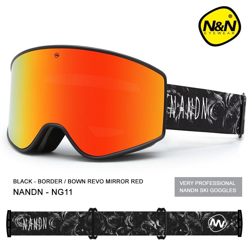 NANDN лыжные очки двухслойные UV400 Анти туман большой Лыжная маска очки Лыжный Снег Мужчины Женщины Сноуборд очки - 2