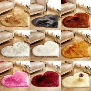 Shaggy Carpet Love Heart Rugs Artificial Wool Sheepskin Hairy Mat Faux Fluffy Mats NO Lint Carpet For Living Room Kid Room