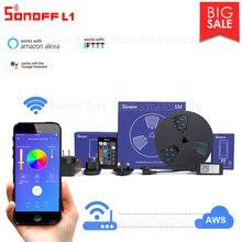 Itead Sonoff L1 2M/5M LED אור רצועת Dimmable נשלט מרחוק עמיד למים Flexiable צבעוני RGB אור תמיכה google בית