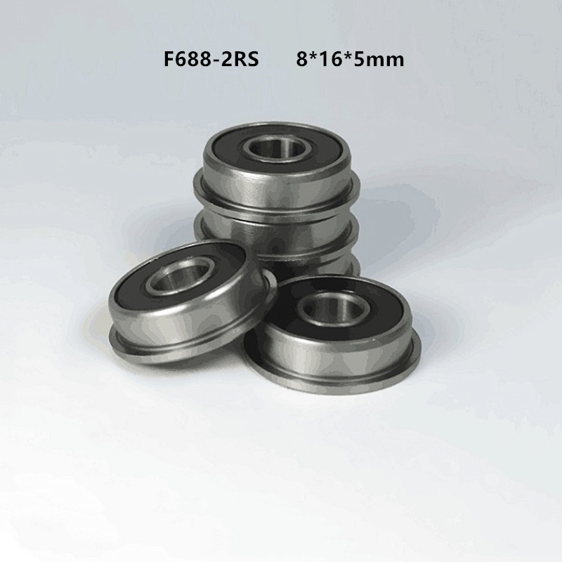 100pcs/lot Flange Bearing F688-2RS F688RS F688 2RS 8x16x5 Mm Rubber Sealed Flanged Deep Groove Ball Bearings 8*16*5 Mm