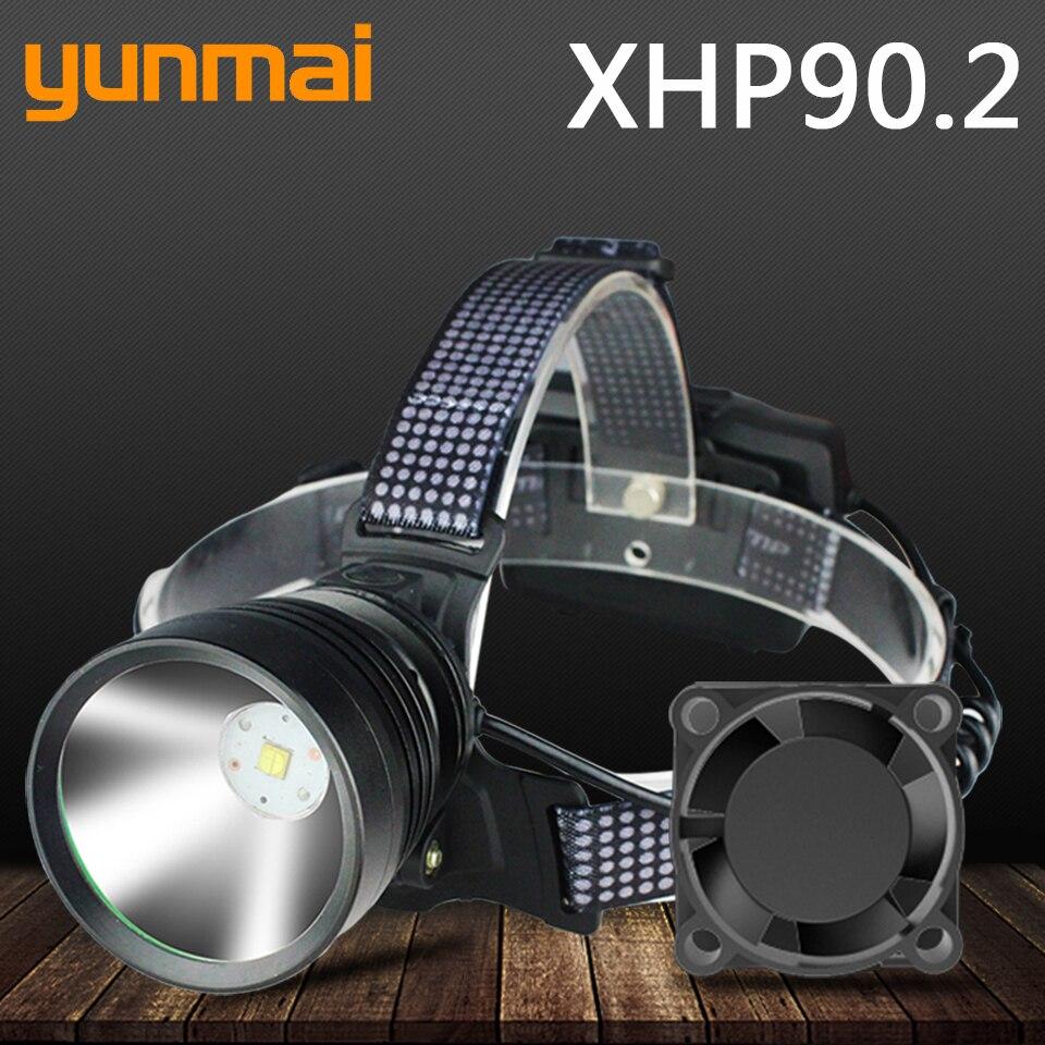 Xhp90.2 светодиодный налобный фонарь со встроенным охлаждением, забавная Налобная фара, фонарик, фонарь с увеличением, литий ионный аккумулятор 3*18650, заряжаемый аккумулятор Налобные LED-фонари      АлиЭкспресс