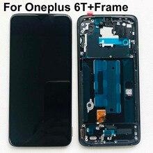 AAA orijinal AMOLED LCD ekran Oneplus 6T A6010 A6013 dokunmatik ekranlı sayısallaştırıcı grup 6.41 inç çerçeve ile çerçeve + hediyeler