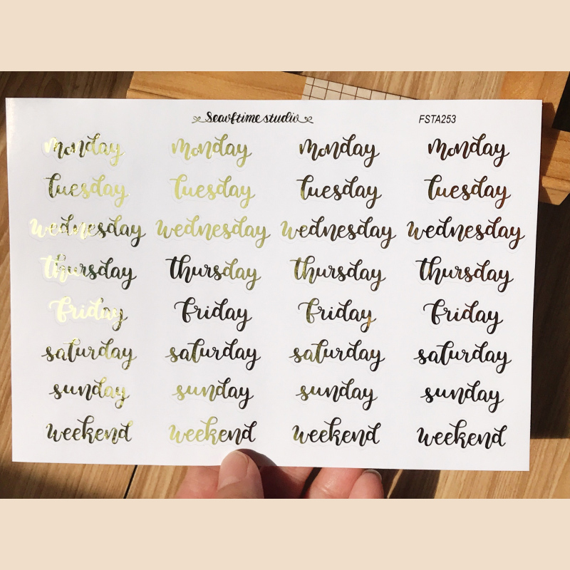 Laser Stamping English Calendar Words Sticker Week Plan Monthly Plan Rainbow Bronzing DIY Scrapbooking Label Diary Album Escolar