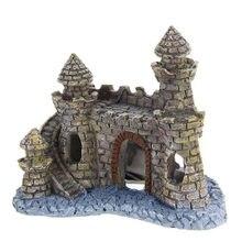 Polyresin torre castelo aquário ornamento tanque de peixes decoração acessórios novo