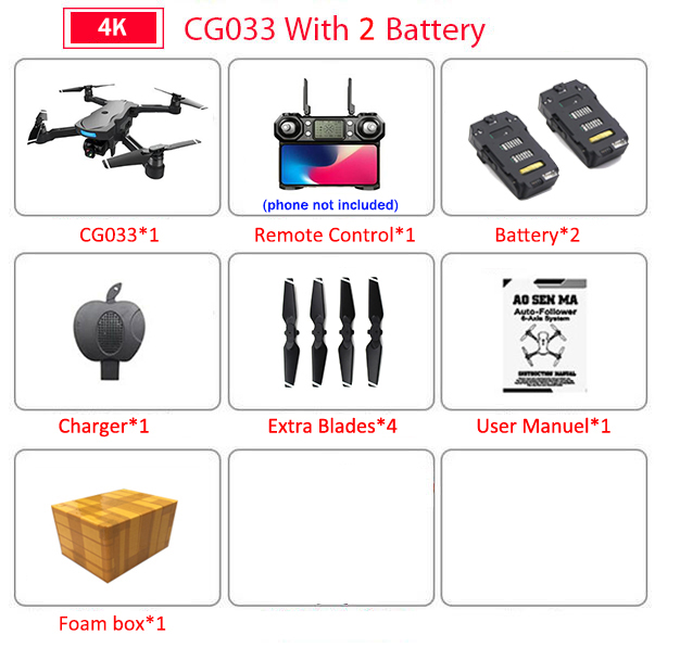 CG033 Brushless FPV Quadcopter with 4K UHD Wifi Gimbal Camera RC Helicopter Foldable Drone GPS Dron Kids Gift VS F11 ZEN K1