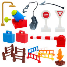 New Diy Building Brick Accessories Compatible With Blocks Camera Duploe Fire Suitcase Fence Torch Tables Bulk Parts Toy For Baby(China)