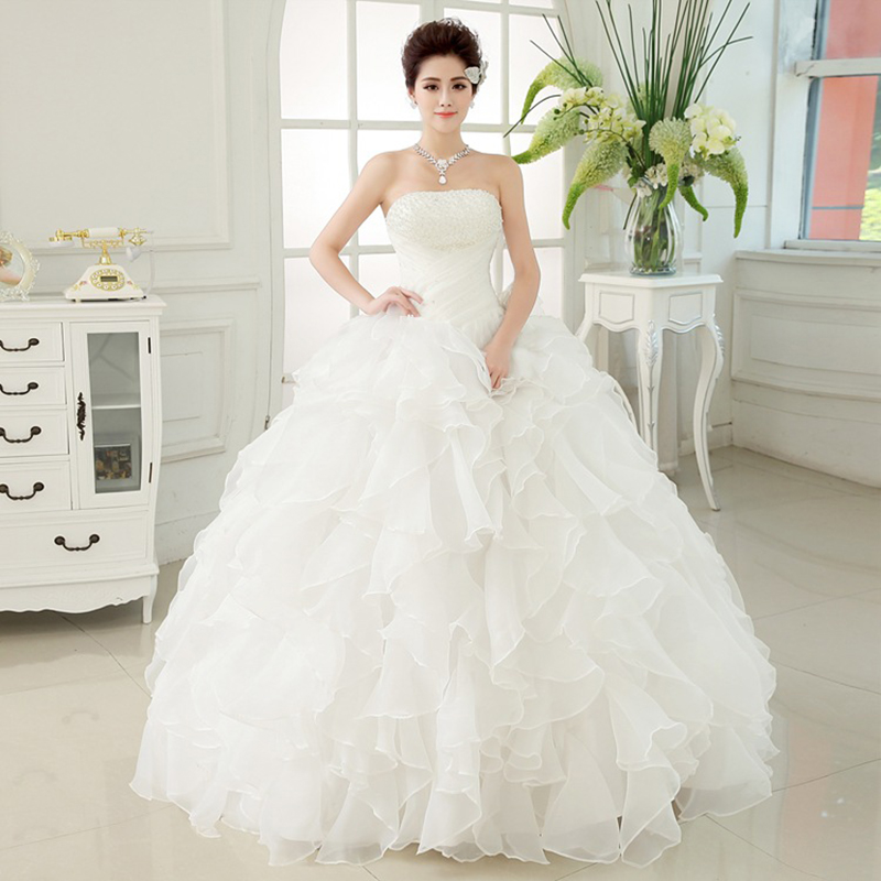 New 3D Waist Slim Ruffles Pearls Wedding Dresses 2020 Sweetheart Ball Gown Vestido De Noiva Bride Dress Floor Length