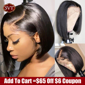 SVT Short Bob Straight Lace Wigs PrePlucked Baby Hair 13x4 Lace Front Human Hair Wigs For Women Peruvian Bob Lace Closure Wig 1B