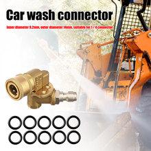 Myjka ciśnieniowa wspólne uszczelnienie narzędzie do pierścieni Adapter 180 stopni 5 kąt 4500 PSI + 10 sztuk o-ring Auto części tanie tanio CN (pochodzenie) Car Washing Machine Connector Copper Rubber Zestawy do podlewania Pivoting Coupler Nozzle Connector