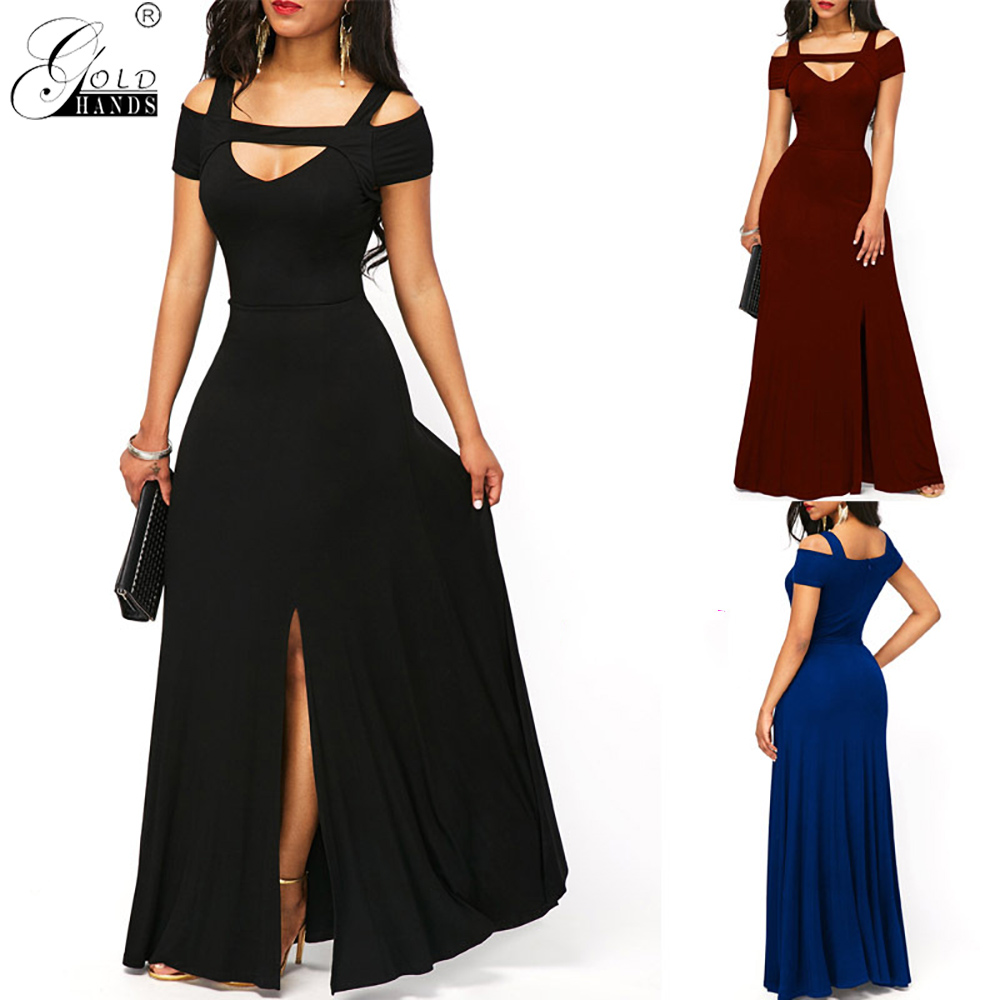 <font><b>Gold</b></font> Hands 2019 Summer Elegant <font><b>Sexy</b></font> V Neck Off Shoulder Split Long Party <font><b>Dress</b></font> Women Casual Plus Size Slim Ball Gown Maxi <font><b>Dress</b></font> image