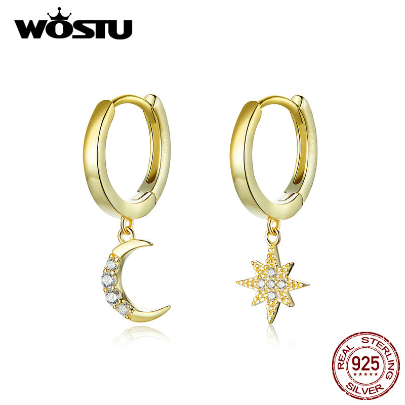 WOSTU Authentic 925 Sterling Silver Star & Moon Earrings For Women Hot Fashion Gold Color Zircon Earrings Fashion Jewelry CQE785