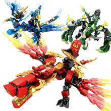 цена на 3pcs/set ninja figures Ninjago dragon knight building blocks Model Bricks enlighten toys for children Compatible With Lego toys