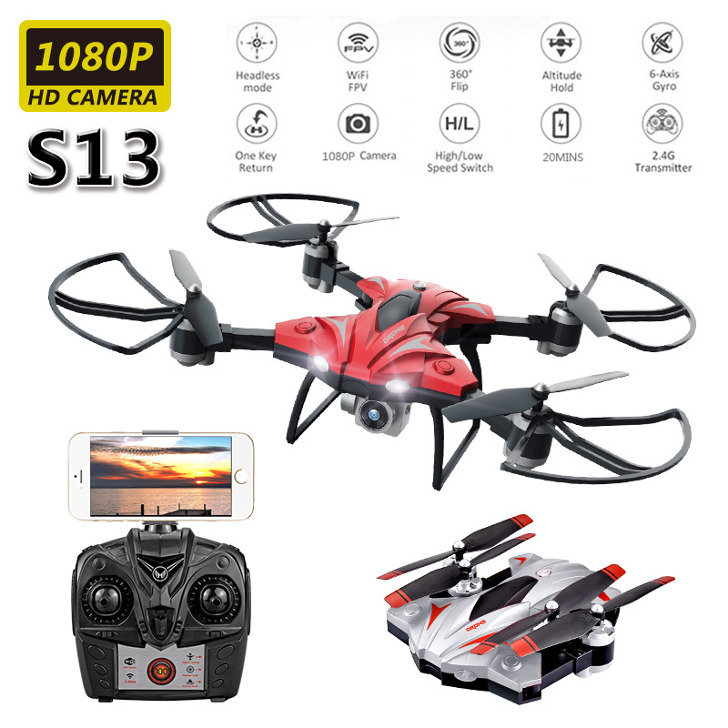 S13 Ultra-long Life Battery Unmanned Aerial Vehicle Aerial Photography High-definition Folding Quadcopter Pressure Set High Remo
