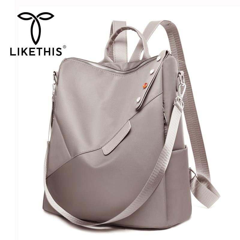 LIKETHIS Classic Bags Woman Backpacks Waterproof Rucksack Laptop Oxford Large Mochila Feminina Solid Black School Bags Рюгзак