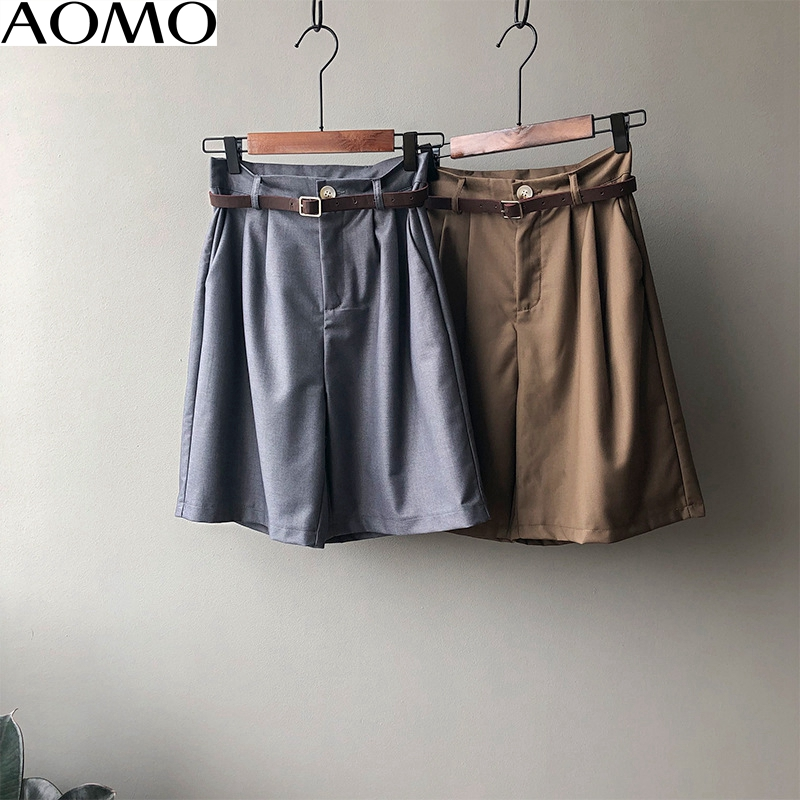 AOMO Fashion Women Elegant Solid Shorts With Zipper Fly Female Retro Basic Office Lady Shorts Pantalones ASF56A
