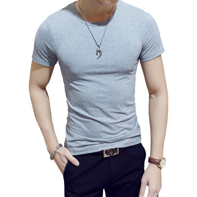 оптовая продажа мужские однотонные тонкие футболки из молочного фотография