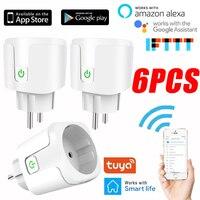 Enchufe doméstico inteligente conectado con Wifi, toma de corriente con temporizador, Adaptador europeo, toma de corriente 16A Tuya, funciona con el asistente de Google Alexa
