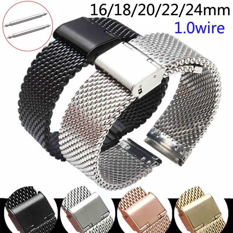Replacement Watch Strap 16mm 18mm 20mm 22mm 24mm Stainless Steel Milanese Loop Meshed Watch Band Wrist Bracelet Fold Buckle Pins