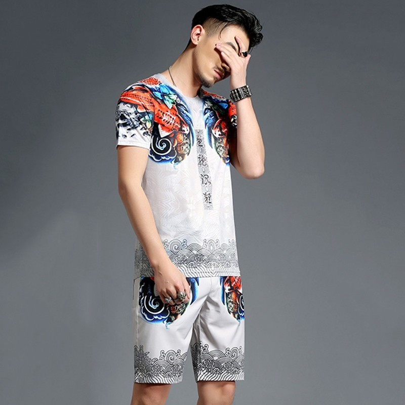 2020 Casual Tracksuit Two Piece Sets Mens Summer Shorts Suit Hip Hop Printing Men 2pcs Set Fashion Chinese Style Large Size 4XL