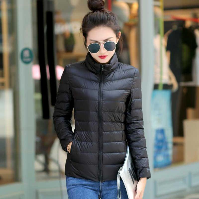 Solid Ultra ฤดูหนาวผู้หญิง Slim แขนยาวแจ็คเก็ตขนาด PLUS หญิง Casual Zipper Windproof Parka Outwear ฤดูใบไม้ร่วง