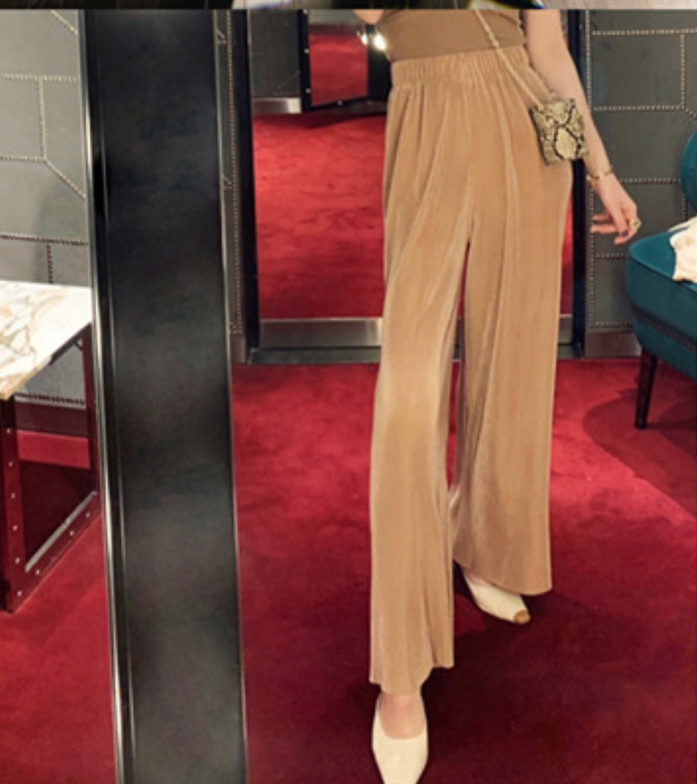 Berly бутик женские бархатные широкие брюки с высокой талией Свободные повседневные брюки Вертикальная текстура