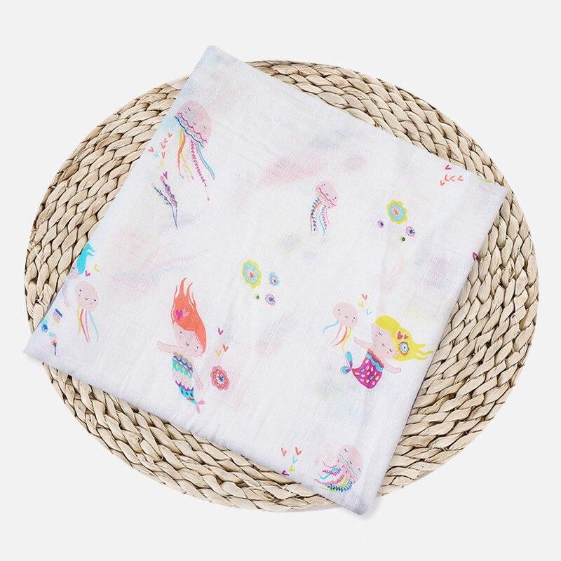 1 шт., муслин, хлопок, детские пеленки, мягкие одеяла для новорожденных, для ванной, марля, Детская накидка, спальный мешок, чехол для коляски, игровой коврик - Цвет: Mermaid