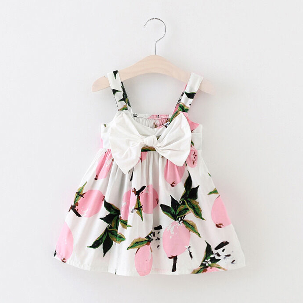 Pudcoco Toddler Baby Girl Clothes Lemon Print Sleeveless Summer Party Dress Princess Sundress Casual Newest
