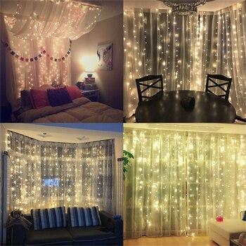 Coversage Fairy Curtain Garland Light 3x3M 3x2M 4.5x3M 2x2M Christmas Decorative LED String Xmas Party Garden Wedding Lights 1