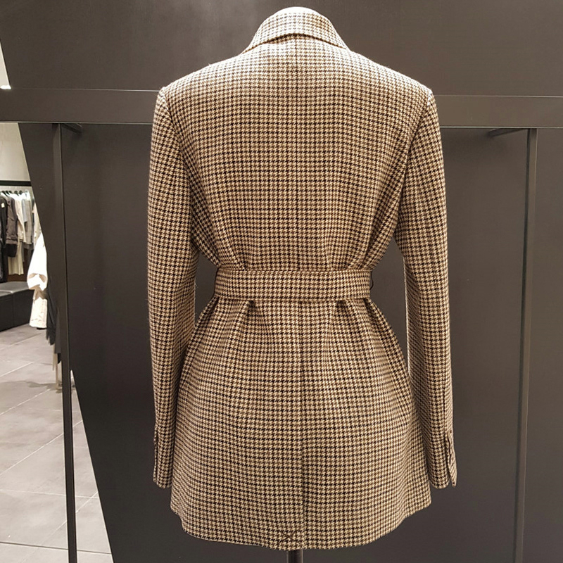 Mozuleva Korean Plaid Women Work Blazer Jacket Casual Double-breasted Sashes Suit Jacket Female 2020 Slim Female Blazer Outwear