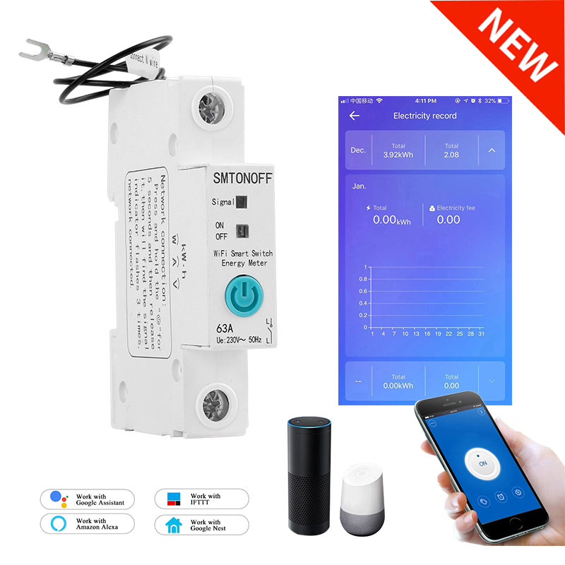 1P eWelink Single phase Din rail WIFI Smart Energy Meter Power Consumption kWh Meter wattmeter with Alexa  google for Smart home 1