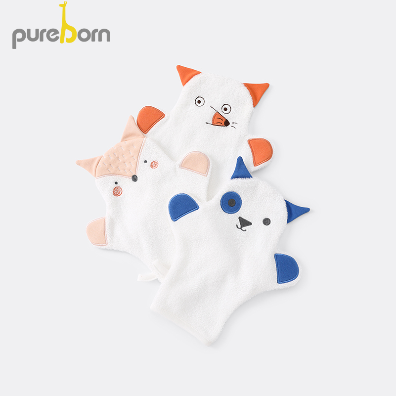 Pureborn Newborn Unisex Baby Cartoon Animal Bath Towel Toys Terry Cotton Soothing Towel Soft  Security Blanket For Baby Care
