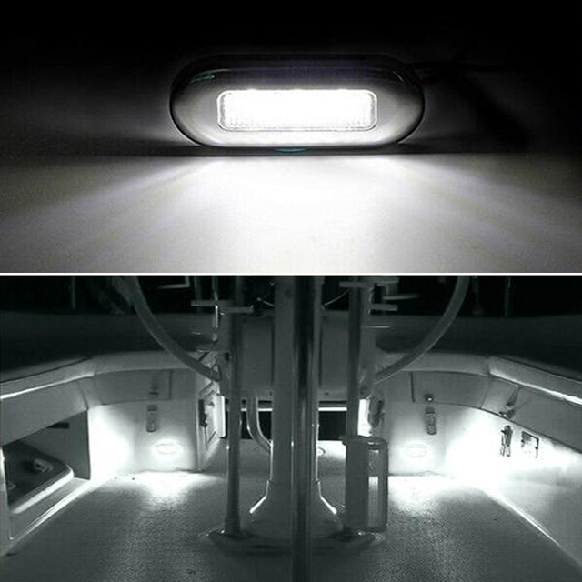 4x 3 LED 12V Boat Stair Deck Side Marker Light Courtesy Lights Indicator Turn Signal Lighting Marine Boat Accessory Taillight 2