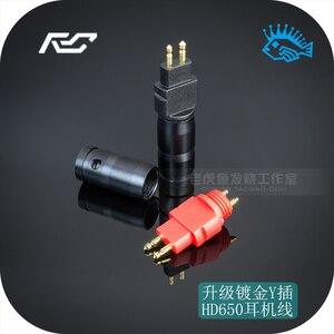 Image 1 - 1 par (rojo y negro) chapado en oro enchufe de auriculares para SENNHEISER HD650 600 de 580 pin de Metal de tubo de escape cable para auriculares DIY