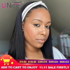 Unice Hair Best Value Straight Human Hair Grip Headband Scarf Wig for African American Women Natural Color Machine Made Wigs