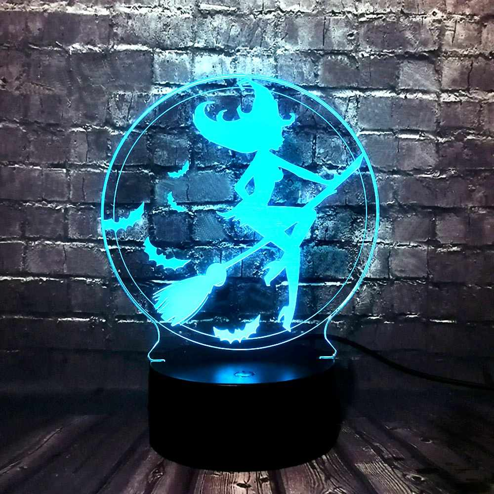 Lámpara de mesa Linda caricatura acrílica 3D Visual Magic Fairy rid escoba 7 colores cambio LED Decoración habitación luz de noche regalo navideño para niños