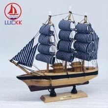 LUCKK 24CM Simulation Handmade Wooden Sailing Model Nordic Room Desk Decor Retro Crafts Nautical Miniature Boat Figurines gifts