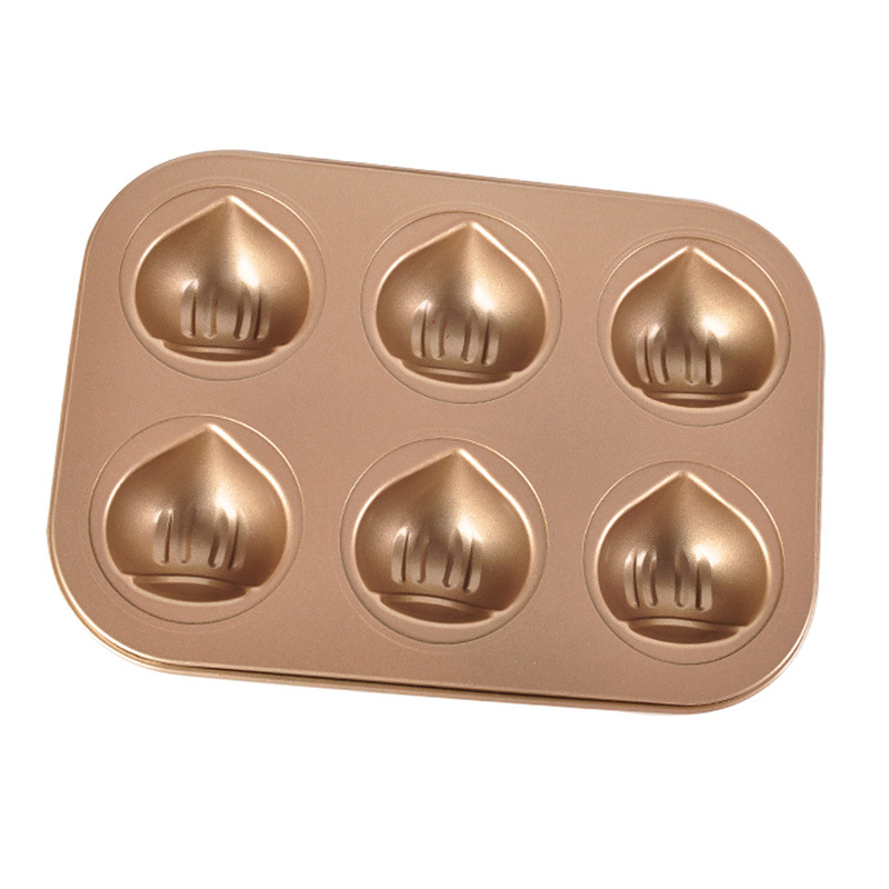 6 Grids Carbon Steel Chestnut Shaped Cake Baking Tray Baking Mold Household Oven Bakeware DIY Cake Mould Kitchen Accessories