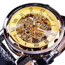 цены Classic Men Watches Fashion Skeleton Watches Men Mechanical Hand Wind Watch Roma Dial Gold Watch Leather Band montre homme