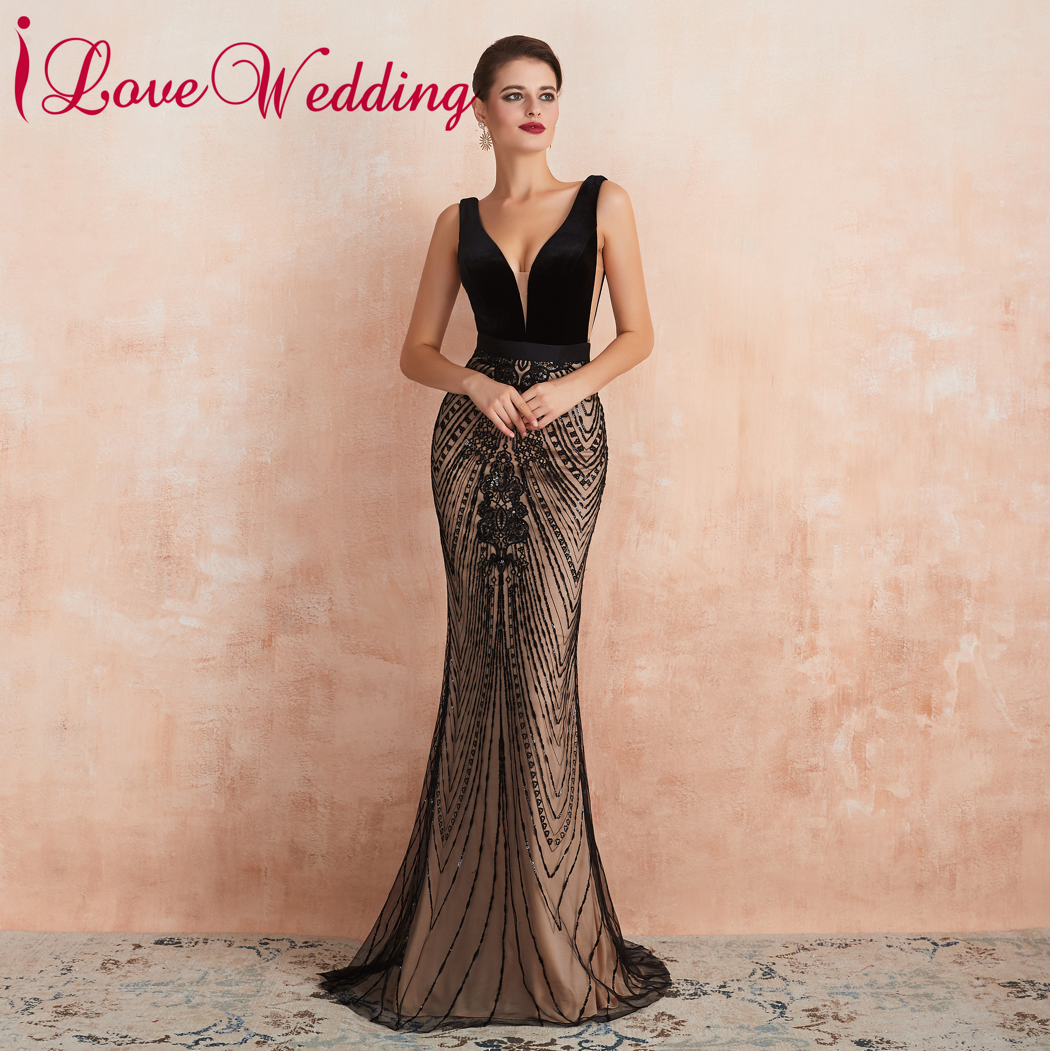 Formal Dress Sexy V Neck Black Lace Evening Dress Sleeveless Trumpet Velour Evening Party Gown