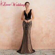 לבוש הרשמי סקסי V צוואר שחור תחרת שמלת ערב ללא שרוולים חצוצרת קטיפה ערב המפלגה שמלה