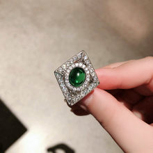 Geometry Big Rings For Women Men 925 Silver Green Stone May Birthstone Wedding Ring Zircon Crystal Turkish Jewelry emerald ring(China)