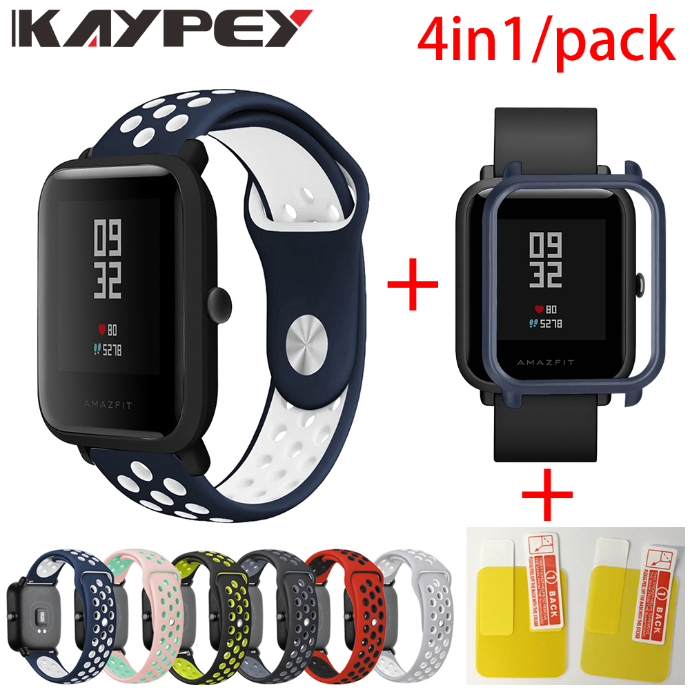 US $3.84 30% OFF|4in1 for Xiaomi Huami Amazfit Bip Strap Soft silicone sports wristband Smartwatch Bracelet With PC Case Cover Screen protector in