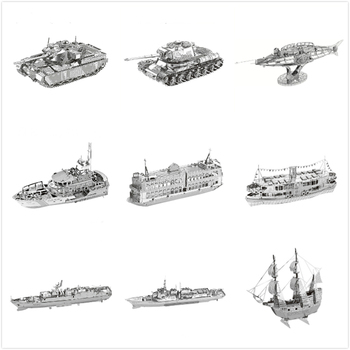 Tank Ship 3D Metal Puzzles Ferry Boat Black Pearl Titanic Model Destroyer Laser Jigsaw Cut Manual Adults Gift Toys Home Decor Puzzles