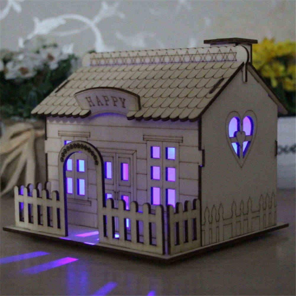Multi-functional Wooden Villa Night Light Piggy Bank Home Decoration Money Box MF999
