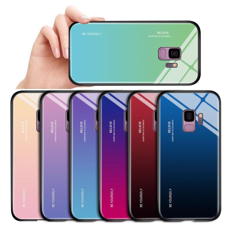 Für Samsung Galaxy J2 Pro 2018 J3 2015 2016 J310 Luxus Aurora Regenbogen Gehäuse Gradienten Fall Stoßfest Gehärtetem Glas Zurück abdeckung
