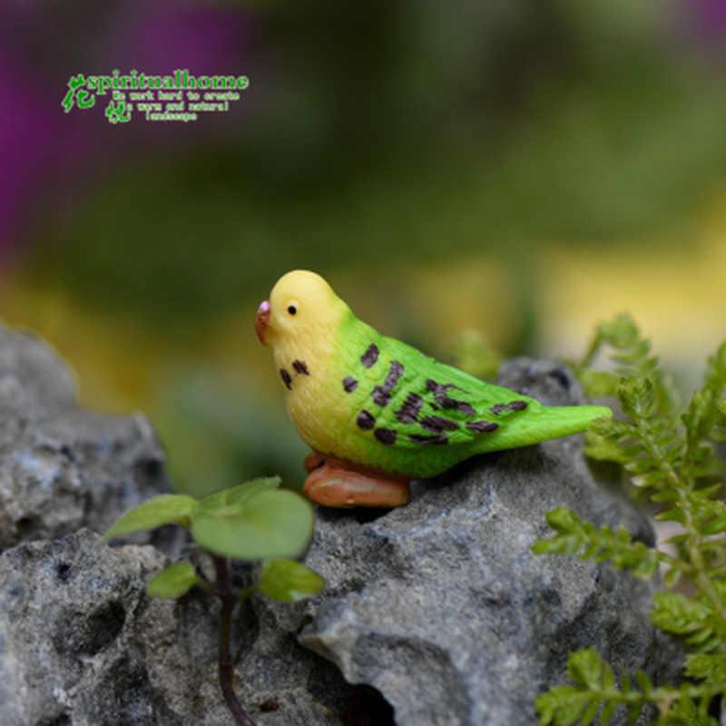 ミニグリーン歌ポーリングオウム鳥 Popinjay モデル小彫像置物工芸品フィギュア飾りミニチュア DIY 装飾