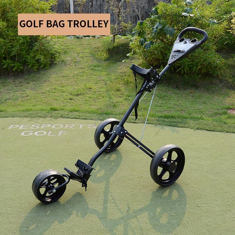 Golf trolley Aluminum type trolley bag trolley Foldable three-wheel bag trolley Golf auxiliary equipment