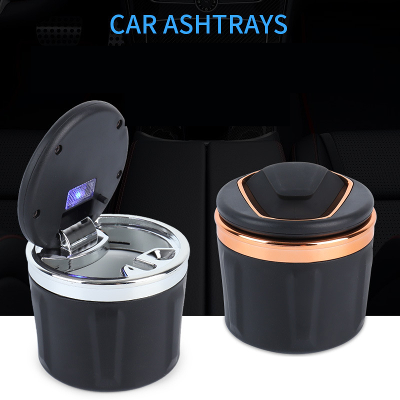 Car Ashtray Multi-Function Covered Car Cigarette Lighter With LED Light     Ashtray For Car Accessories Interior Auto Accessorie